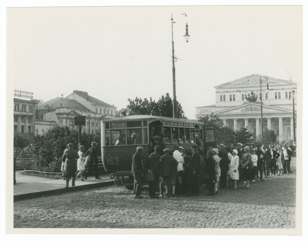 Trolley in front of the Bolshoi, Moscow, 1930.jpg