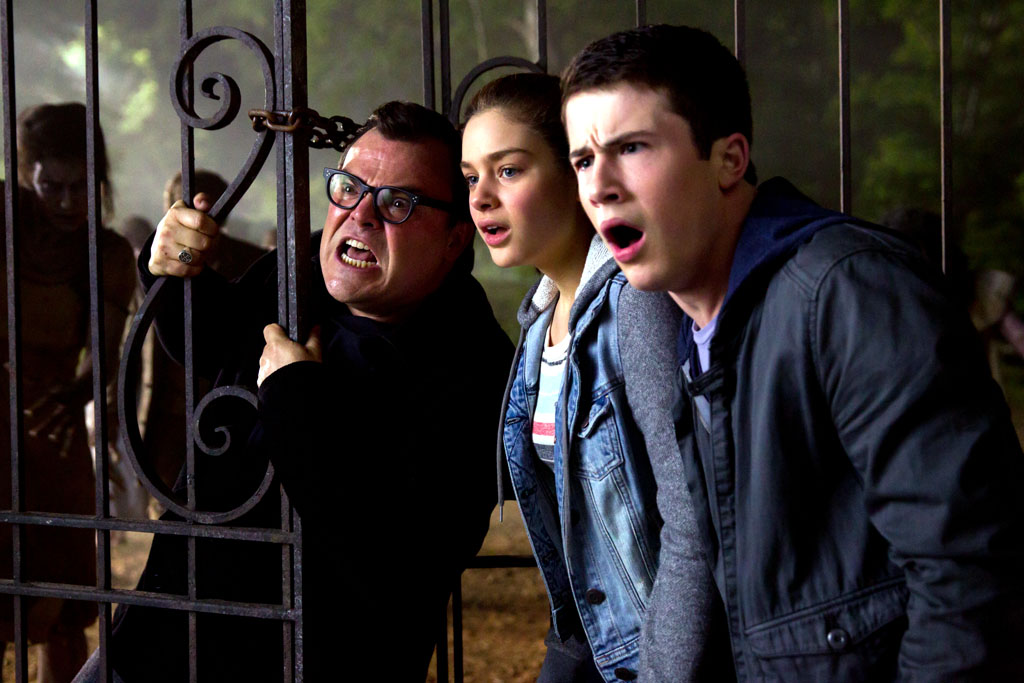 "L-r, Jack Black, Odeya Rush and Dylan Minette and star in Columbia Pictures' ""Goosebumps."" - Goosebumps"