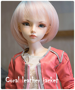 Coral leather jacket for minifee