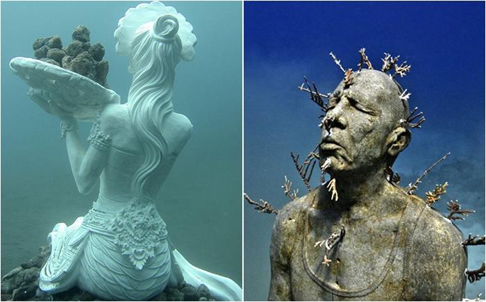 Неимоверные скульптуры и статуи в подводном царстве