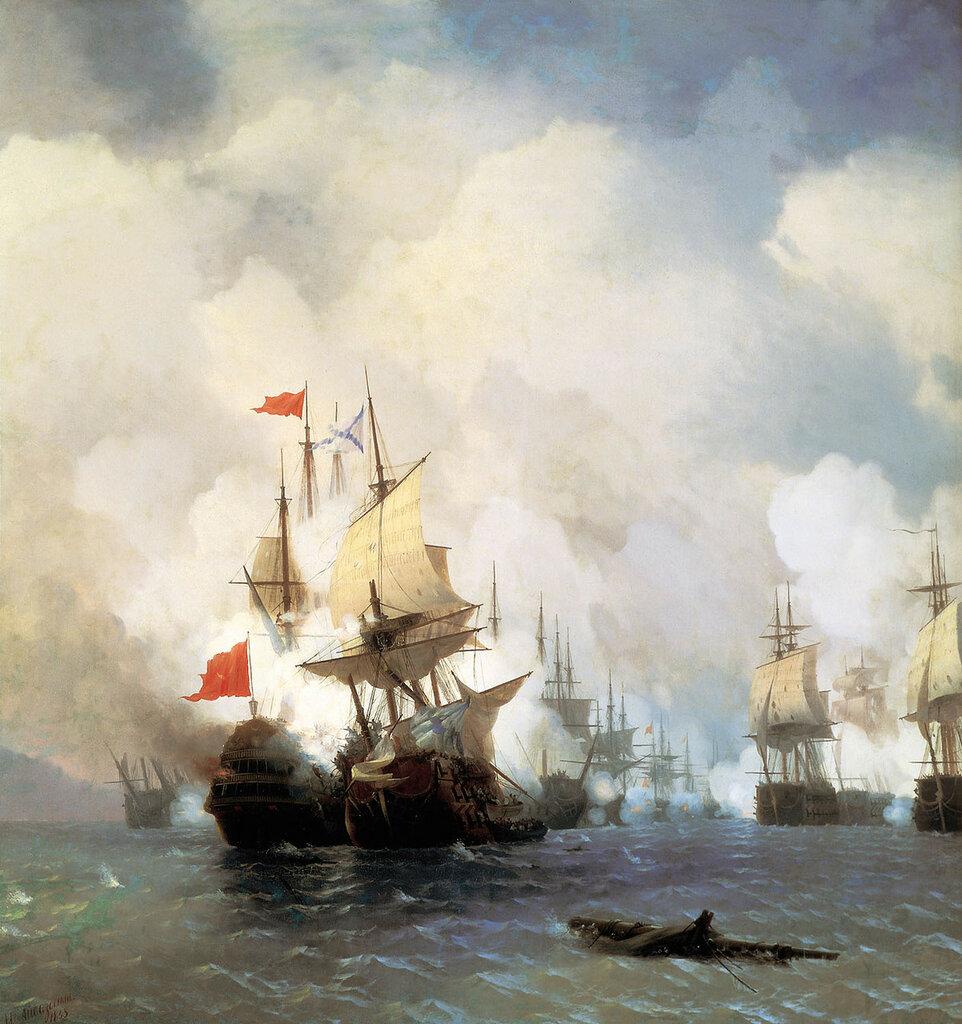 Бой в Хиосском проливе 24 июня 1770 года. 1848. Холст, масло.jpg