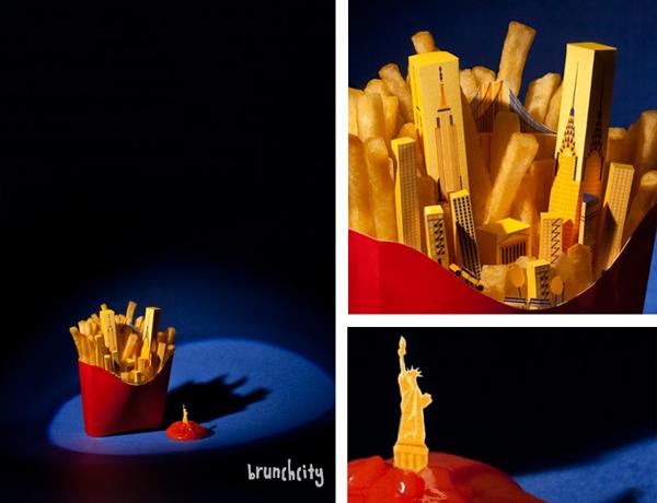 Фото-арт-проект `BRUNCHCITY`. Фотограф Andrea García Portolés. Иллюстратор Bea Crespo