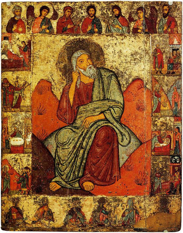 Илия Пророк в пустыне. Икона. Конец XIII - начало XIV века