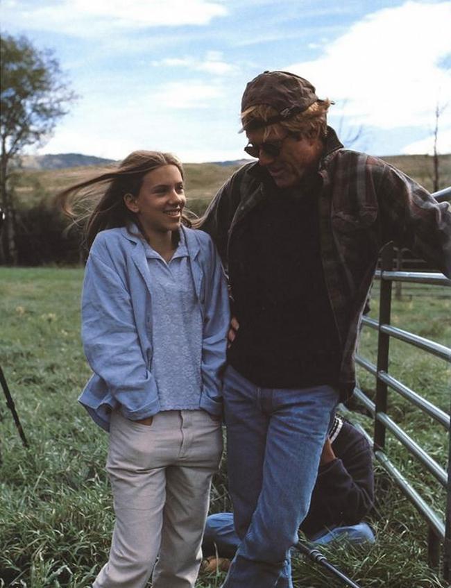 Скарлетт Йоханссон и Роберт Редфорд на съемках картины «Заклинатель лошадей», 1997 год