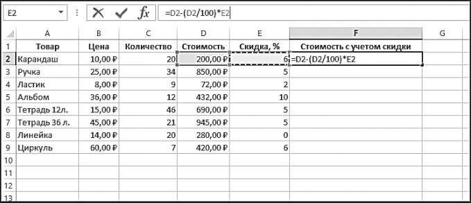 Рис. 5.41. Ввод формулы в ячейку F2