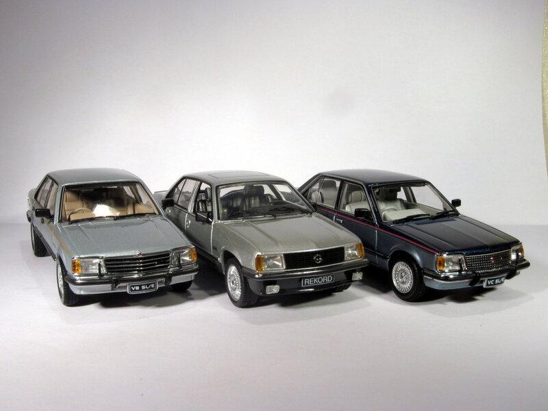 Holden VB/VC Commodore SL/R [Biante 1:43] + Opel Rekord SR/E [Schuco 1:43]
