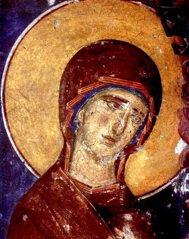 Пресвятая Богородица. Фреска церкви Панагии Олимпиотиссы в Элассоне, Греция. XIII век.