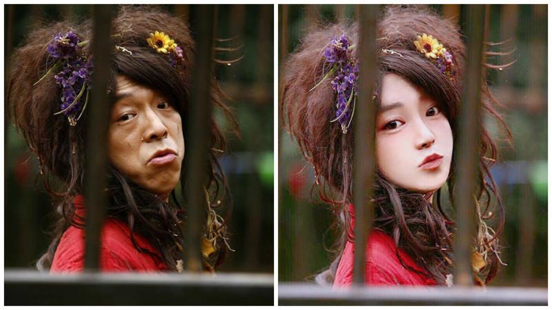 """Китайская """"богиня фотошопа"""" меняет внешность людей до неузнаваемости (20 фото)"""