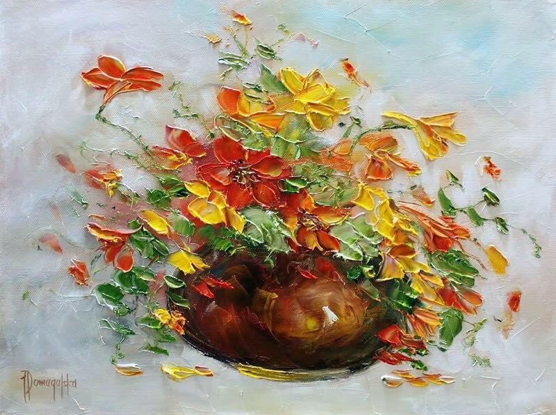 Букеты - они частичка лета И брызги радуги цветной. Joanna Domagalska