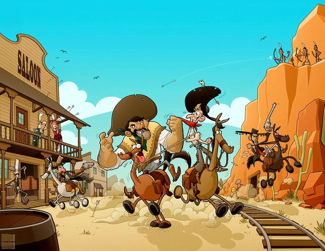 Где-то на Диком Западе - ковбои и индейцы