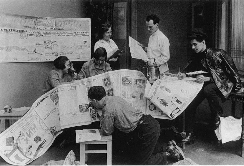 Making a wall newspaper in a housing co-op on Admiralteyskaya Embankment, Leningrad, c. 1927-1928.jpg