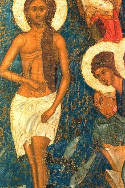 Крещение Господне. Икона из Успенского собора во Владимире. 1410-е годы. ГРМ. Фрагмент.