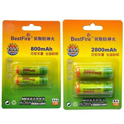 Ni-Mh аккумуляторы BestFire 2800 mAh типа АА и 800 mAh типа ААА