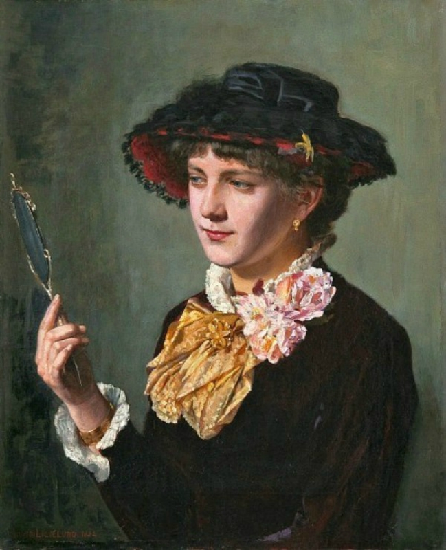 Arvid Liljelund (Finnish artist, 1844-1899) Woman with a Mirror 1882.jpg