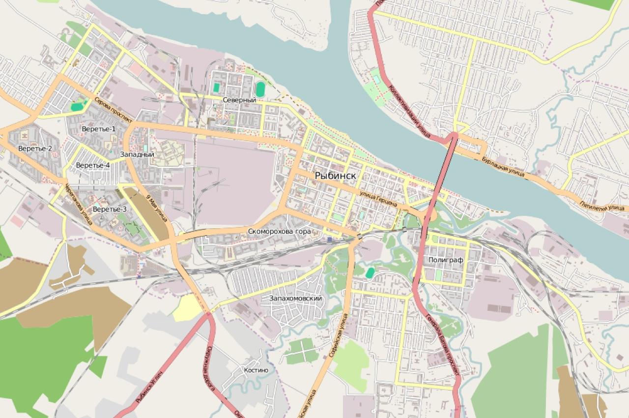 Карта города Рыбинск на OSM