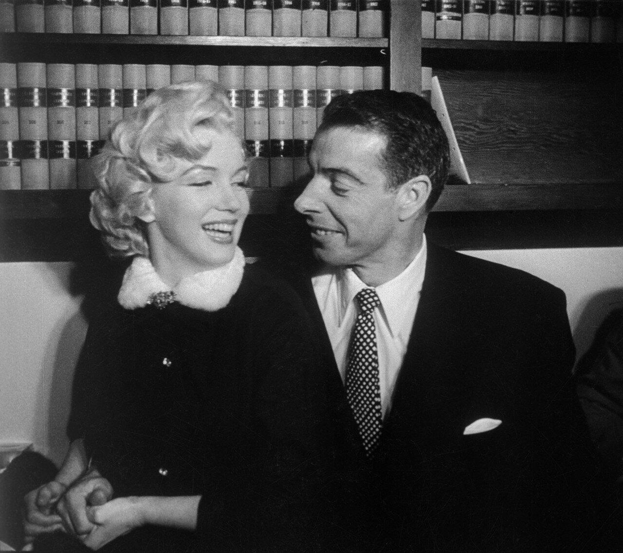 Marilyn Monroe and Joe DiMaggio Smiling