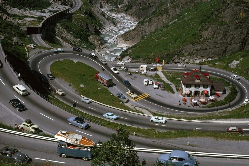 1965 Serpentine switchback roads carry travelers through Switzerland's rocky Reuss Valley Switzerland by Walter Meayers Edwards.jpg