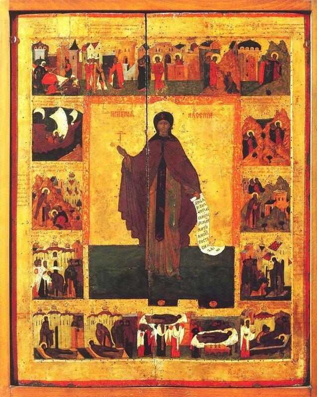 Святая Преподобная Ксения Миласская. Икона. Россия, 1551 год.