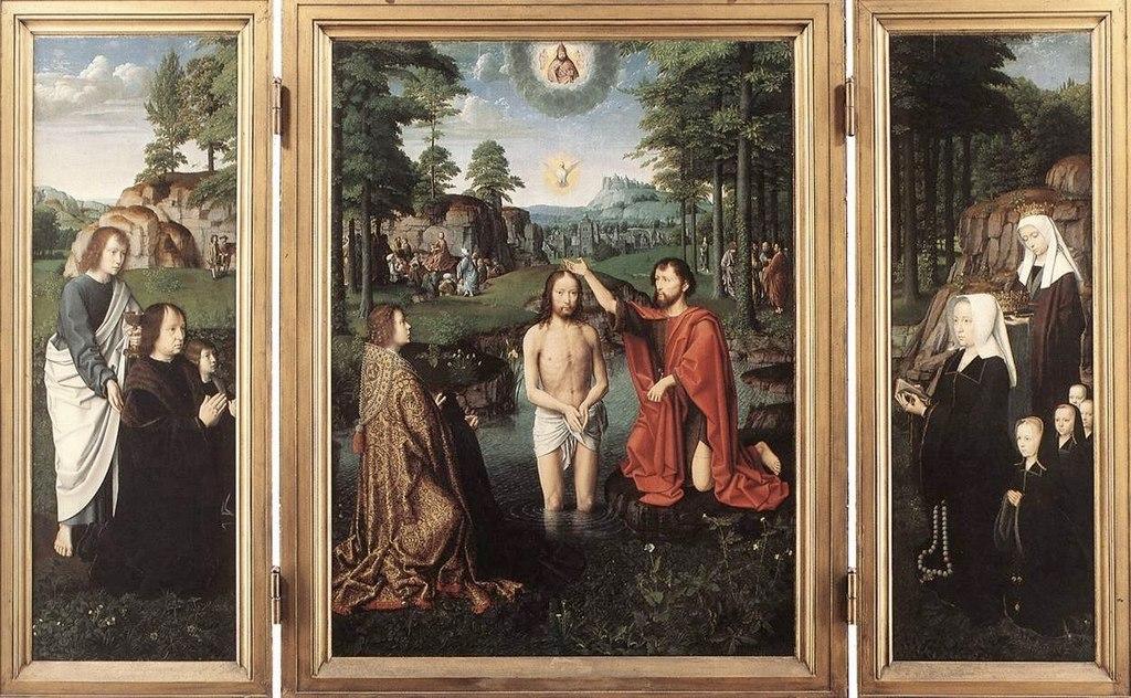 """Жерард Давид. """"Крещение Иисуса"""" 1520"""
