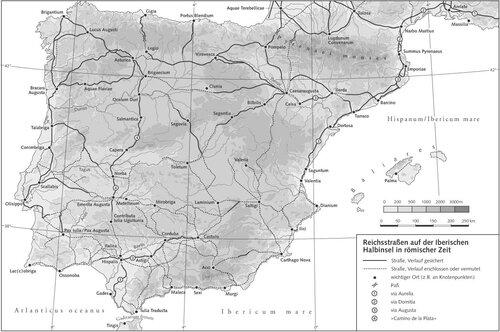 Карта системы римских дорог на территории Испании (Иберийском полуострове)