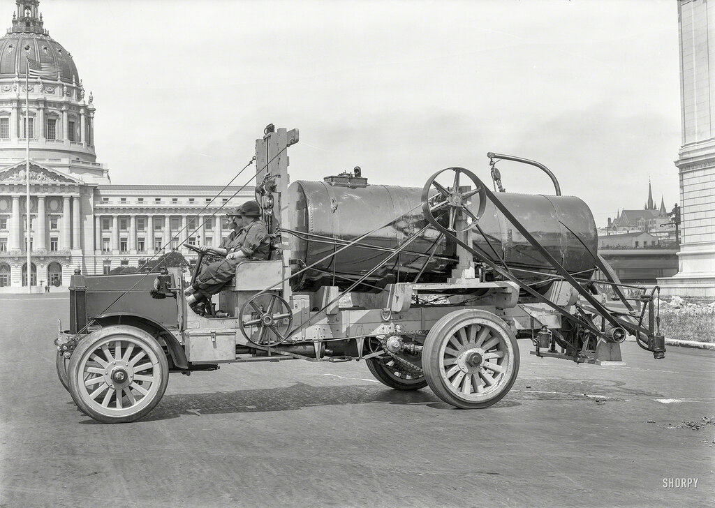 San Francisco City Hall circa 1919. Peerless truck. Three young ladies aboard what seems to be some sort of street-cleaning, finger-ripping machine