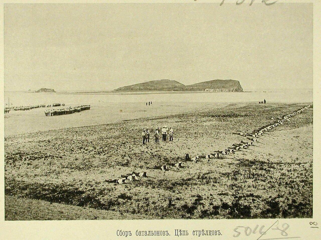 81. Сбор батальонов эскадренного десанта на берегу; на первом плане - цепь стрелков