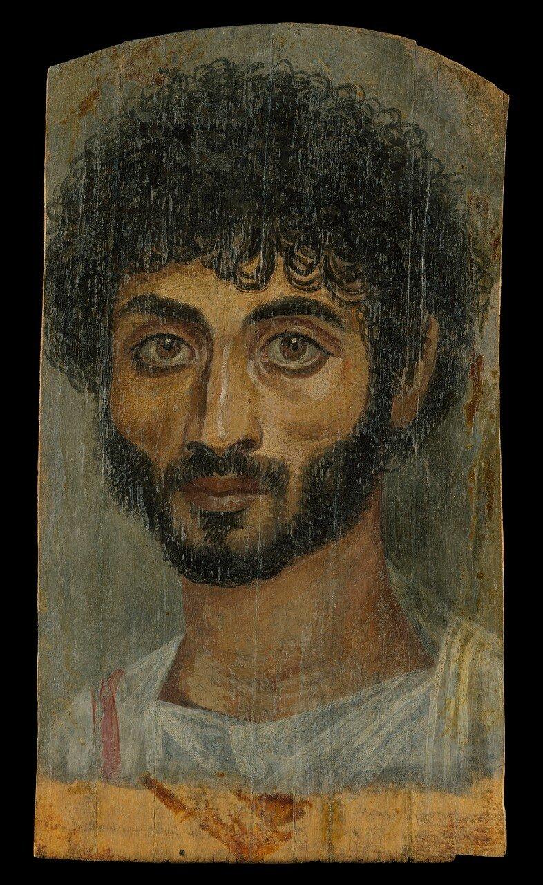 Портрет узколицего, бородатого мужчины.160–180 н.э