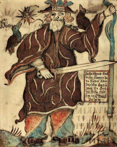 Один обращается к во́ронам Хугину и Мунину. Изображение 18-го века в исландской рукописи. Датская королевская библиотека.jpg