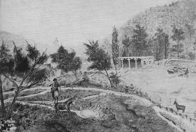 Кош на реке Козаде (Ольховка) и источник Аче-Су (Нарзан). Рис. конца XVIII века