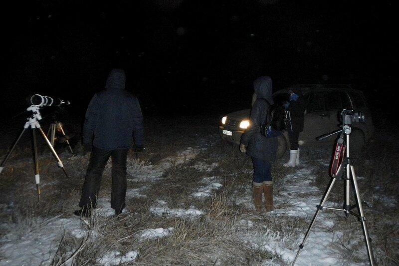 Телескопы и астрономы на вершине холма 23 ноября 2014 г. в Шалегово (Оричи, Кировская область)