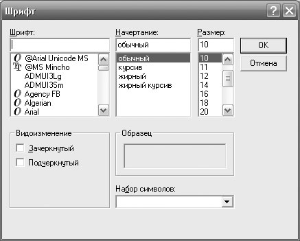 Рис. 1.11. Окно диалога для выбора шрифта надписи на кнопке