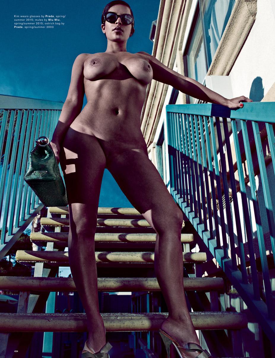 голая Ким Кардашьян / Kim Kardashian by Steven Klein in Love Magazine spring-summer 2015 / Kim Wears Prada