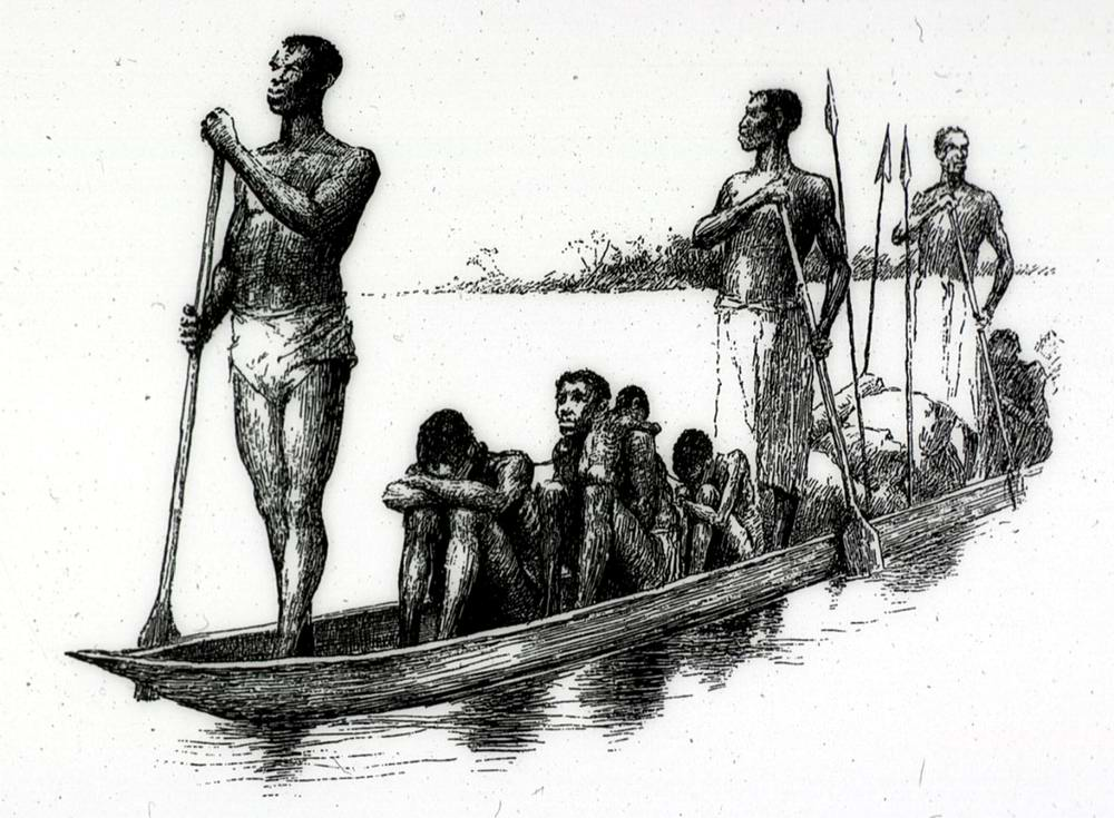 Захваченные африканцы, которых перевозят на каноэ (Конго, 1880-е годы)