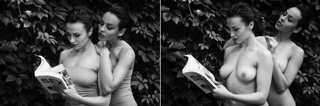 Две обнажённые девушки гуляют по осеннему Киеву 23