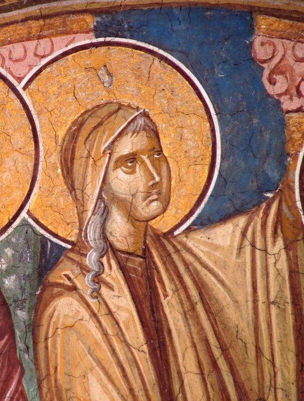 Святая Праведная Анна Пророчица, дочь Фануилова. Фрагмент фрески монастыря Высокие Дечаны, Косово, Сербия. Около 1350 года.