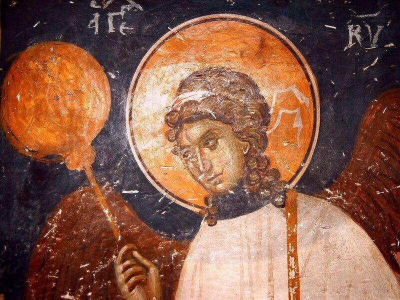 Ангел-диакон. Фреска церкви Св. Николая Орфаноса в Салониках, Греция. XIV век.