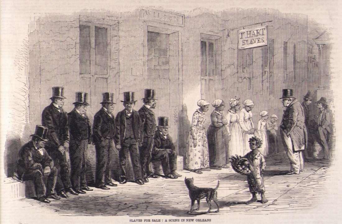 Рабы, ожидающие момента своей продажи на аукционе в Новом Орлеане (1861 год)