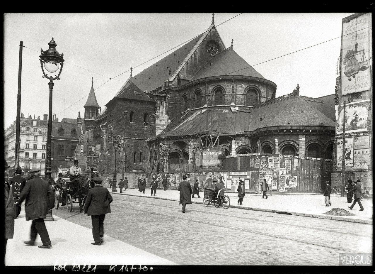 1913. Церковь Сен-Мартен-де-Шам (консерватория искусств и ремесел) фасад на рю Реамюр