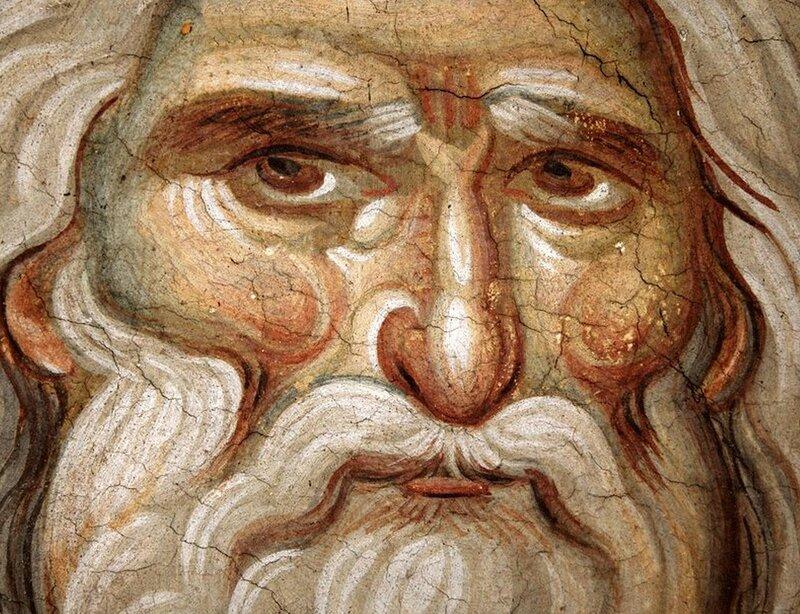 Святой Пророк Илия. Фрагмент фрески конца XIII века в монастыре Протат на Афоне. Иконописец Мануил Панселин.
