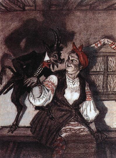 Николай Васильевич Гоголь - Ночь перед Рождеством - А. Лаптев - Солоха и черт, 1959 г.