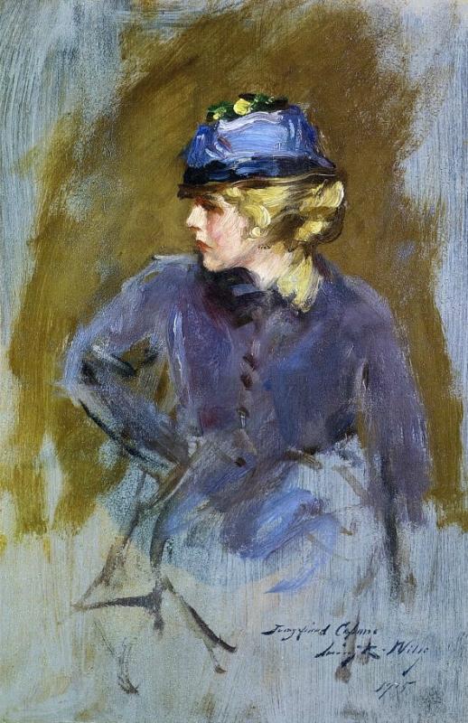 2 Irving Ramsey Wiles (1861-1948)  Woman in Blue 1915.jpg