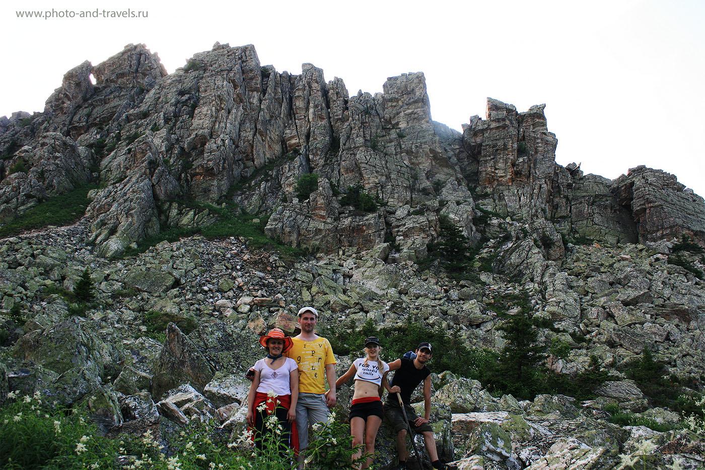 12. Наша группа перед подъемом на Откликной гребень в национальном парке Таганай на Южном Урале