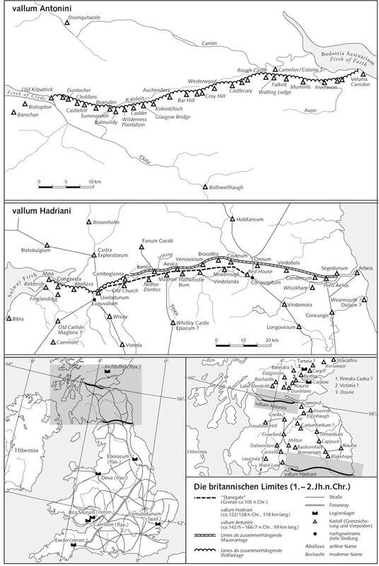 Подробная карта  с вала Адриана и вала Антонина