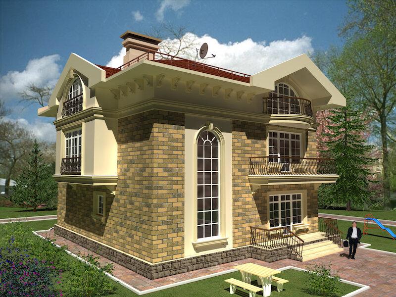 Проект частного дома. Фасад 1