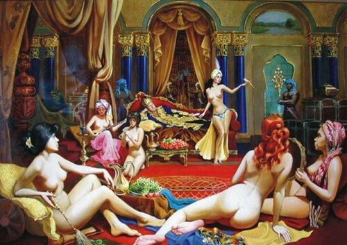 Турецкий султан секс с наложницами