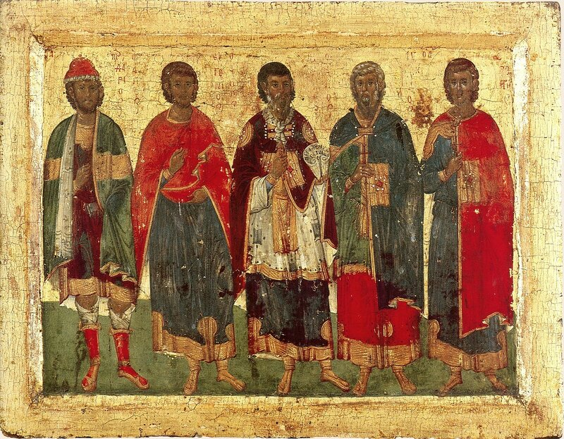 Святые мученики Мардарий, Евгений, Евстратий, Авксентий и Орест Севастийские. Византийская икона в монастыре Хиландар на Святой Горе Афон.