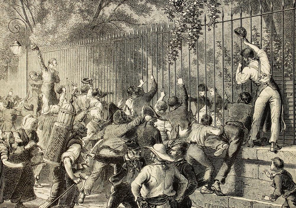 84 Эффект присутствия Наполеона в толпе, собравшейся на проспекте la avenida de Marigny.jpg