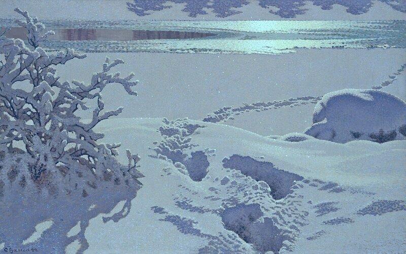 Gustaf Fjaestad. Следы на снегу в лунном свете. 1899.jpg