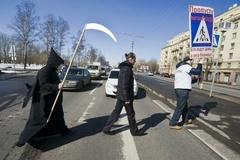 """The stock """"Death"""" on transition in St. Petersburg"""