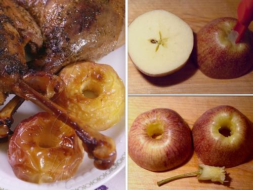 Гусь, запеченный в сидре, с яблоками во фритюре